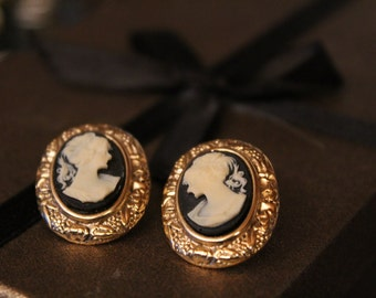 Gold Accented Cameo Earrings / Cameo Studs / Cameo Earrings / Victorian Cameo