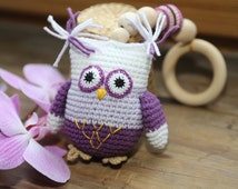 Crochet Owl Teether Teething toy Rattle owl Owl pendant Owl pendant Owl plushie Crochet birds Rattle Baby shower gift Stroller toy