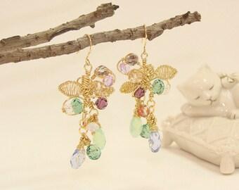 Colorful Swarovski Chandelier earrings, 18K gold filled brass wire,Statement earrings,Chandelier wedding jewelry,gift