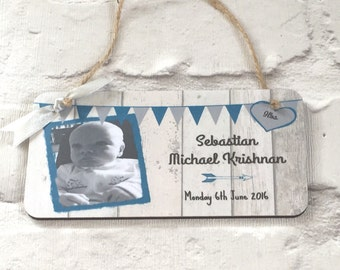 New Baby Birth Announcement Photo Plaque Handmade in Vintage Style