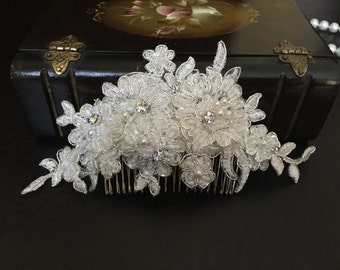 Bridal Hair Accessories, Wedding Head Piece, Ivory Beaded Lace, Rhinesone, Comb