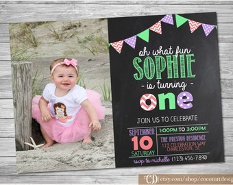 Girl First Birthday Invitation / First Birthday / Photo Invitation / 1st Birthday Invite / Girl Birthday / Digital File