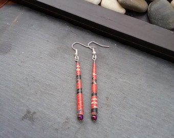 Recycled Jewelry! UpCycled Magazine Earrings Created using recycled paper and glass beads.Each pair is handmade and one of a kind!