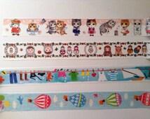 24 inches Cute print washi tape sample, Matryoshka doll washi, cats washi, hot air balloon teddy bear, laundry