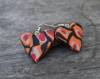 Orange Heart Earrings, Handmade Earrings, Gift For Her, Statement Jewelry, Christmas Gift, Funky Earrings, Drop Earrings