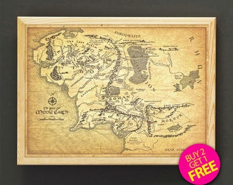 Lord of the Rings Print Middle Earth Map Poster Lord of the Rings Map Art Print, Fantasy Map Home Decor, Hobbit, Wall Art, Nursery Gift -555