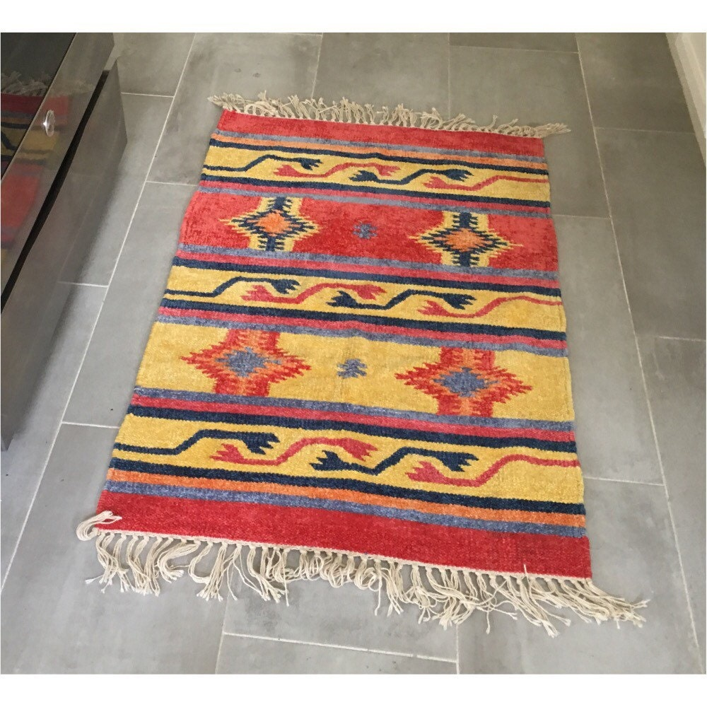 Vintage Woven Aztec Rug Colorful Boho Area Rug