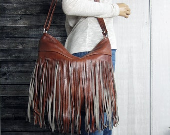 FRINGE LEATHER PURSE Crossbody Leather Bag With Tassels Antique bronze