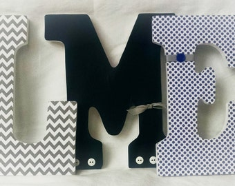 Wooden letters, blue and grey letters, boy nursery letters, custom wooden letters, hanging letters for nursery