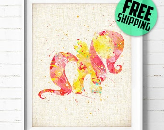 The Little Pony Poster, Fluttershy Watercolor Art Print, Burlap Print, Kids Decor, Wall Art, Home Decor, Not Framed, Buy 2 Get 1 Free! NA225