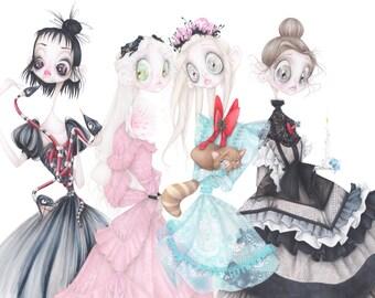 Tim Burton gucci fashion illustration beetlejuice corpse bride art print