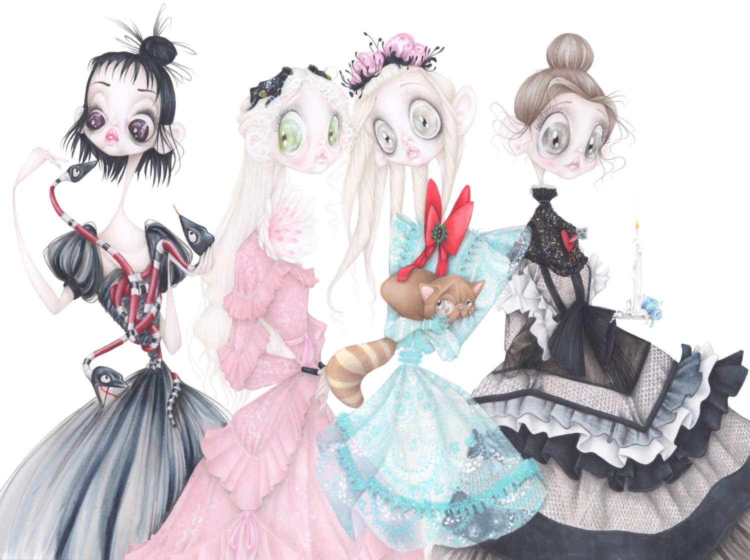 tim burton gucci fashion illustration beetlejuice corpse bride