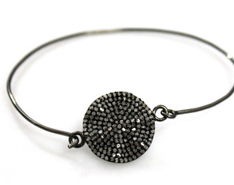 New Pave Diamond Bangle, Sterling Silver and natural diamond bangle,Diamond Bracelet with Diamond Charm