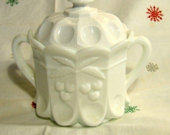 cookie jar, compote jar white milk glass Westmoreland Cherry Cable covered dish
