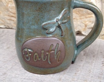 Faith Inspirational dragonfly pottery mug