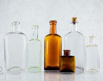 Vintage Glass Bottles - Set of 6