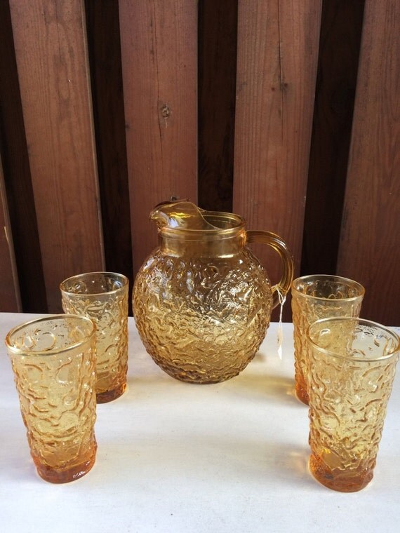 Vintage Anchor Hocking Lido Bubble Gold Glass Pitcher & 5 Juice glass 70s