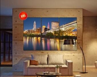 Cleveland Skyline wall art print prints on canvas Cleveland downtown at twilight photo art work framed art artwork