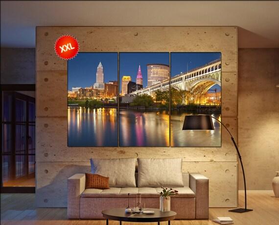 Cleveland Skyline wall decor art  Cleveland Skyline black white  Cleveland Skyline canvas wall art  canvas wall art