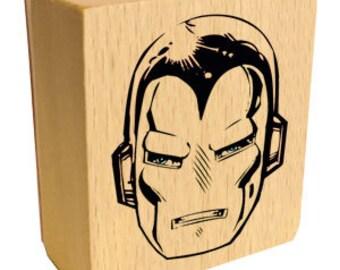 Iron man head rubber stamp