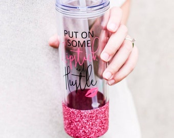 Glitter Cup - Boss Lady - Put On Some Lipstick and Hustle - Personalized Tumbler - Christmas Gift For Her - Glitter Dipped Tumbler