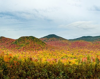 Autumn Photo, Panorama, Fall Foliage, Landscape Photograph, Fine Art Photography, Adirondack Mountains, Adirondack Photo, Mountain Photo