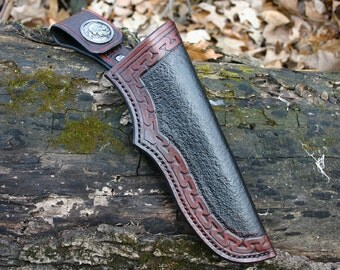 Bushcraft Leather Knife Sheath, Mora Sheath, Bushcraft Gear, Leather Dangler For Snapping Leather Sheath To Belt! Bushcraft Gear Essential