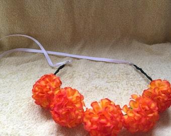 orange floral crown, flower crown, floral headband, floral headpiece