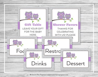 Owl Baby Shower Table Signs - Printable Baby Shower Table Signs - Purple Owl Baby Shower - Owl Shower - Baby Shower Signs - EDITABLE - SP136