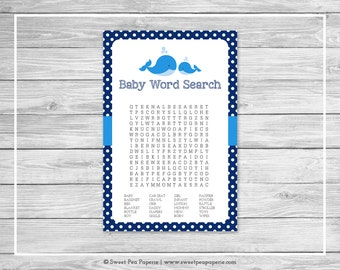 Whale Baby Shower Baby Word Search Game - Printable Baby Shower Word Search Game - Blue Whale Baby Shower - Baby Word Search - SP127