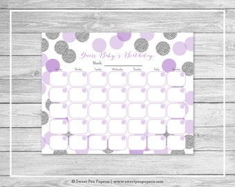 Purple and Silver Baby Shower Guess Baby's Birthday - Printable Baby Shower Guess Baby's Birthday Game - Purple Silver Baby Shower - SP126