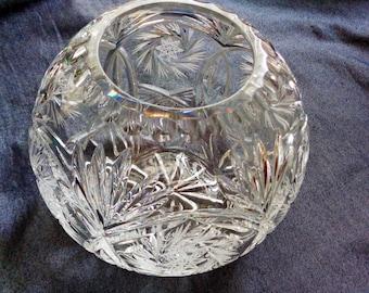 Cut Lead Crystal Rose Bowl