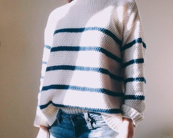 the Mariniere in navy -knitted sweater (breton striped loose fit knit)