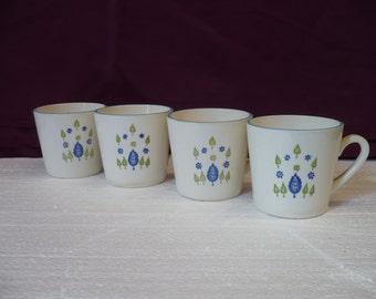Set of 4 Small Stamped Mugs