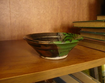 Two-Tone Green and Black Bowl, Pottery