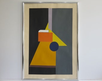 Linear Mid-Century Modern Signed And Numbered Lithograph By Kennie Lymar.