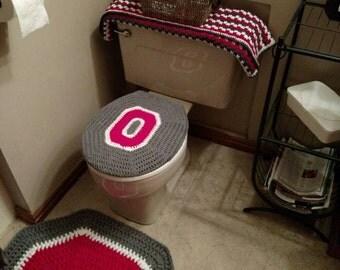 Perfect Ohio State Buckeyes Crochet Toilet Seat Cover   Handmade Block O Bathroom  Decor   Ohio State