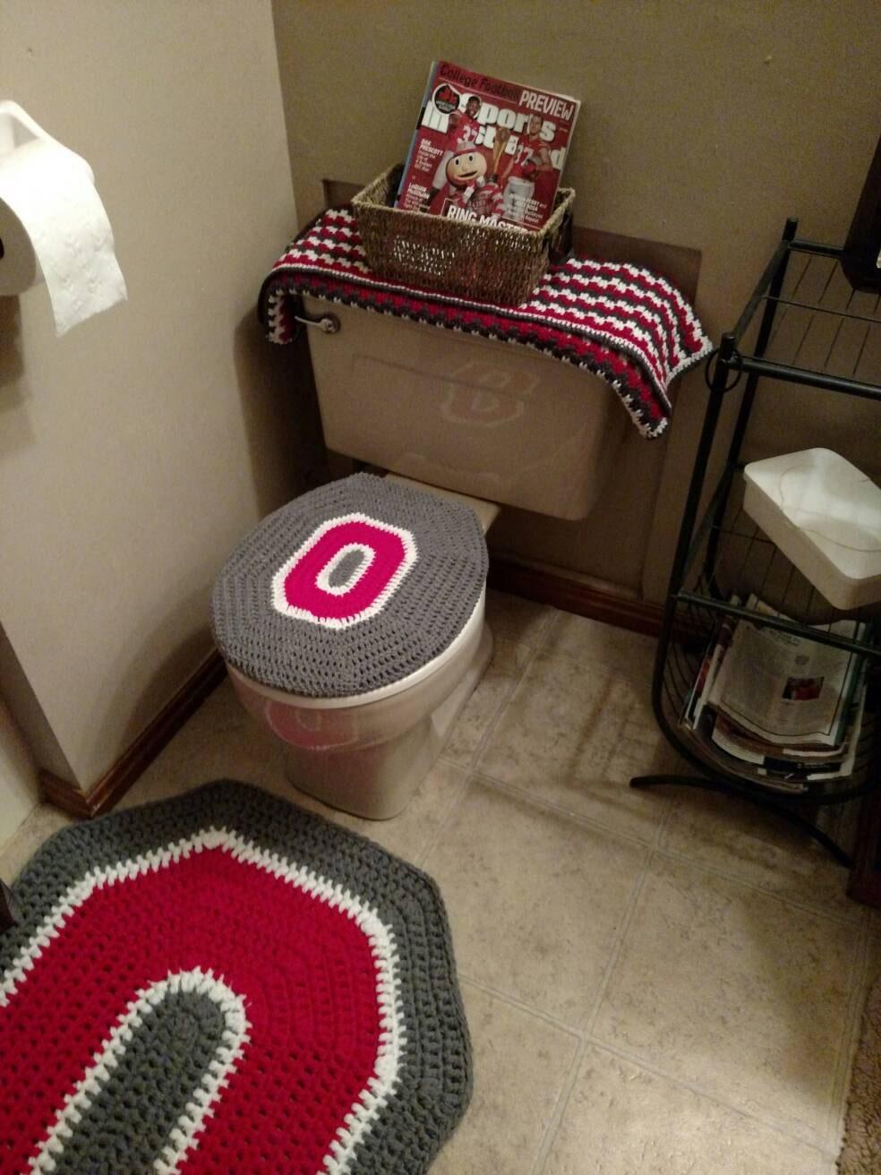 Ohio State Buckeyes Crochet Toilet Seat Cover Handmade Block