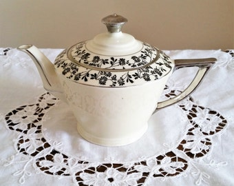 Art Deco Style Teapot, Marked Foreign, White with Silver Flowers and Leaves Pattern, Vintage Floral China Tea Pot, Old Porcelain