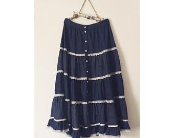 1970s Vintage Gunne Sax High-Waist Prairie Skirt