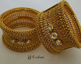 Designer Gold Kundan Kangans Indian Jewelry Bollywood Jewellery Kundan Bangles Gold Kangans Indian Fashion Jewelry