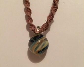 Handmade hemp necklace with round blown glass pendant charm brown hemp