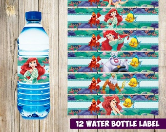 12 Little Mermaid Water Bottle Label instant download, Printable Little Mermaid Water Bottle Label, Little Mermaid Water Label