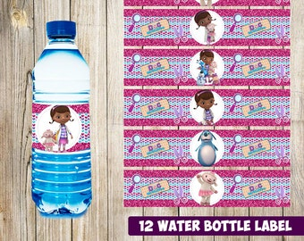 12 Doc McStuffins Water Bottle Label instant download, Printable Doc McStuffins Water Bottle Label, Doc McStuffins Water Label