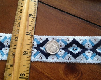 12 YARDS Navy Baby Blue on White Flat Lace Trim 1-1/4 in wide Picot Edge NOS