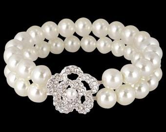 Ivory Pearl Bracelet Bridal Bracelet Wedding Bracelet Silver and Pearl BraceletPearl and Crystal Bracelet