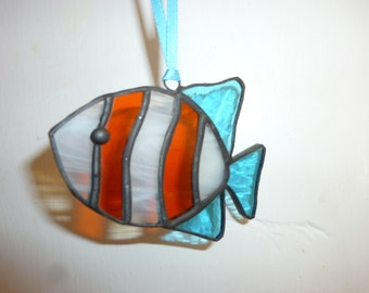 Stained glass fish suncatcher.