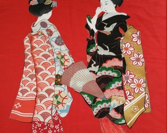 Japanese Silk Scarf panel.  27 inch Square Suitable for Framing