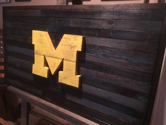 University of Michigan Flag, Reclaimed Wood Flag, Michigan Wolverines,  Rustic Michigan Wall Hanging - University Of Michigan Flag Reclaimed Wood Flag Michigan
