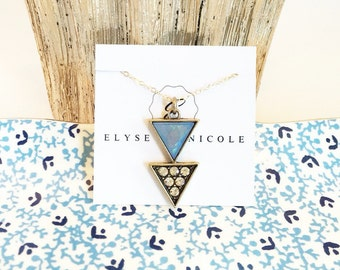 Double triangle charm necklace